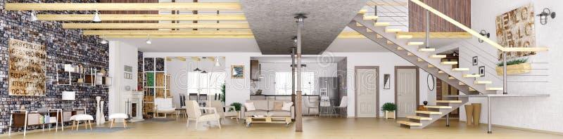 Panorama della rappresentazione interna 3d dell'appartamento del sottotetto illustrazione di stock
