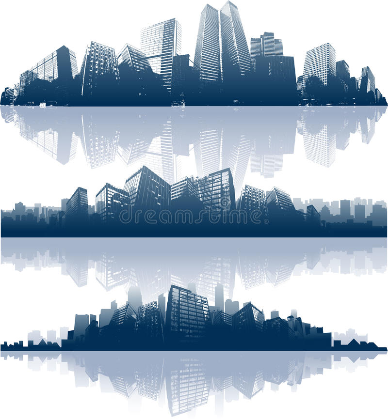 Panorama della riflessione della città illustrazione vettoriale