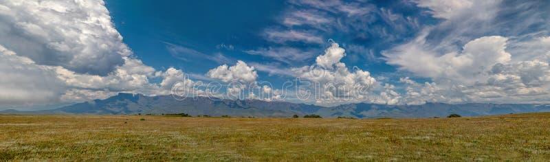 Panorama della scarpata delle montagne di Drakensberg, Sudafrica fotografia stock libera da diritti