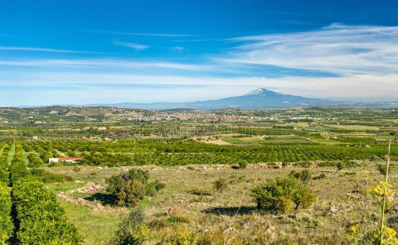 Panorama della Sicilia con la città di Scordia e dell'Etna L'Italia immagine stock libera da diritti