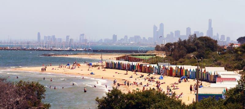 Panorama della spiaggia di Brighton immagine stock