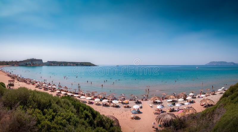 Panorama della spiaggia di Gerakas fotografie stock