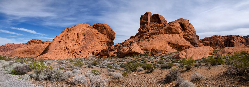 Panorama della valle del parco di stato del fuoco, Nevada fotografie stock libere da diritti