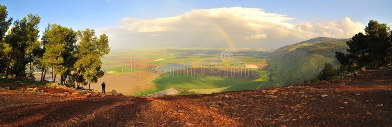 Panorama della valle di Jezreel, Israele fotografia stock