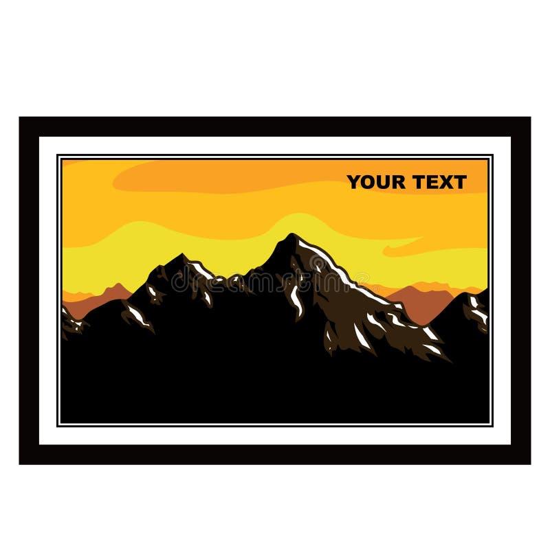 Panorama della valle della montagna Paesaggio con la vista di area collinosa Picchi lontano ghiacciati illustrazione di stock