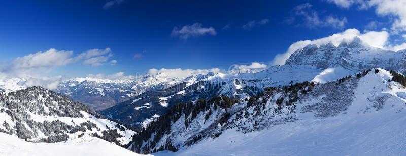 Panorama delle alpi di Chablais fotografie stock libere da diritti