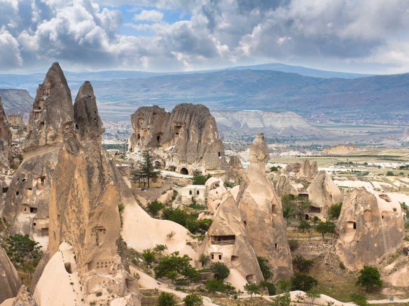 Panorama delle formazioni geologiche uniche in Cappadocia immagine stock