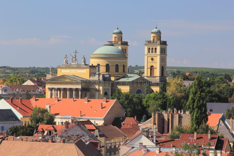 Panorama den medeltida staden av Eger hungary royaltyfri fotografi