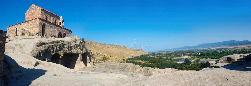 Panorama der alten Höhlenstadt Uplistsikhe stockfotografie