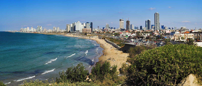 Panorama der Aviv-Küstenlinie stockbilder