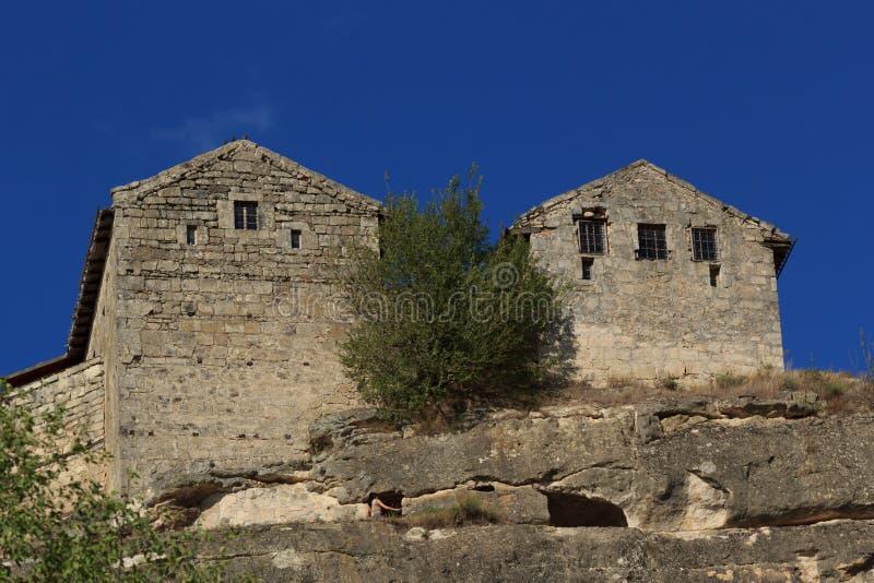 Panorama der Höhlen und der Wände Chufut-Kohl Bakhchysaray krim stockbilder
