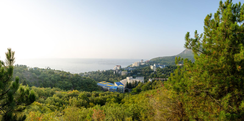 Panorama der Küste von Alushta Corner Professors stockbild