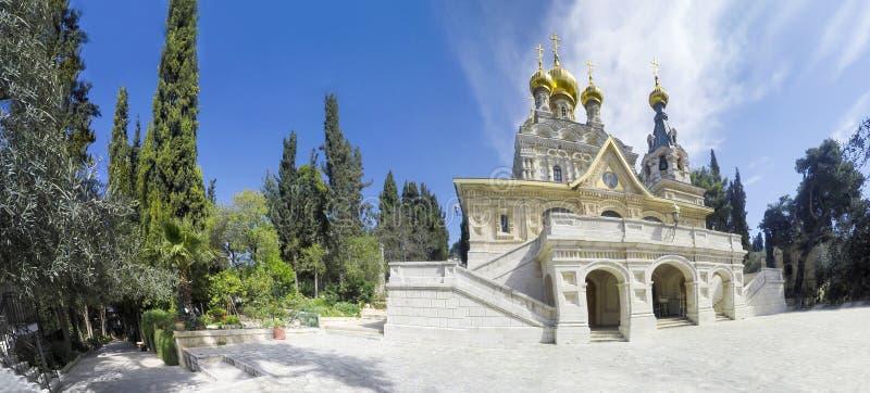 Panorama der Kirche von St. Mary Magdalene am Oliven-Berg von Jerusalem lizenzfreies stockfoto