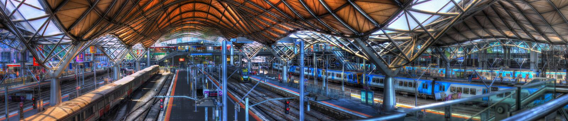 Panorama der Kreuz- des Südensstation in Melbourne stockbilder