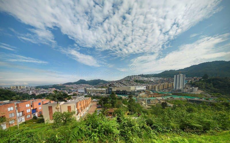 Panorama der Landschaft und der Gebäude in Kolumbien lizenzfreie stockbilder