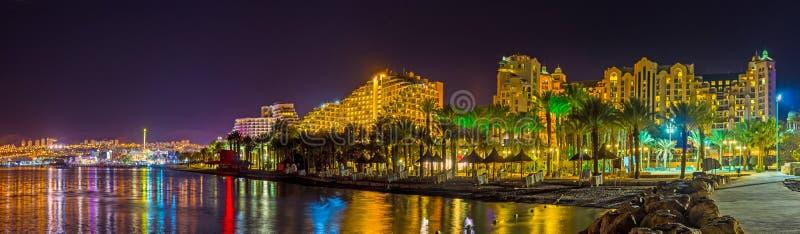 Panorama der Nacht Elat lizenzfreie stockbilder