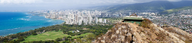 Panorama der Seefrontseite bei Waikiki stockfotografie
