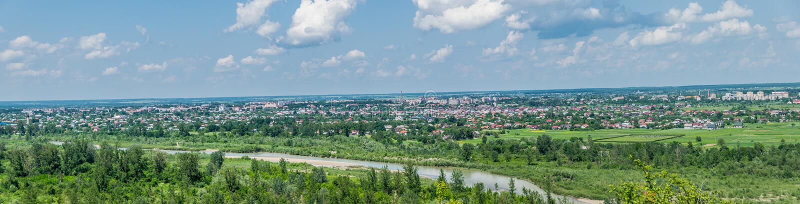 Panorama der Stadt Kolomyia, Ukraine stockbild