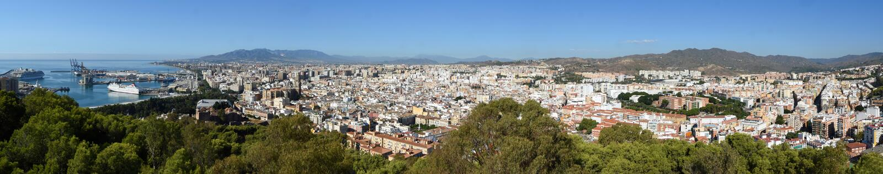 Panorama der Stadt Màlaga in Andalusien lizenzfreies stockfoto