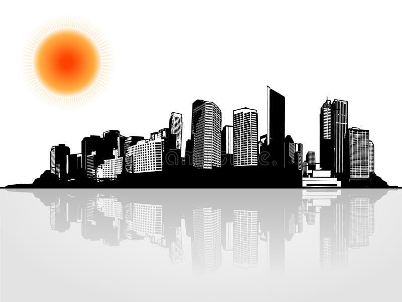 Panorama der Stadt mit Sonne. lizenzfreie abbildung