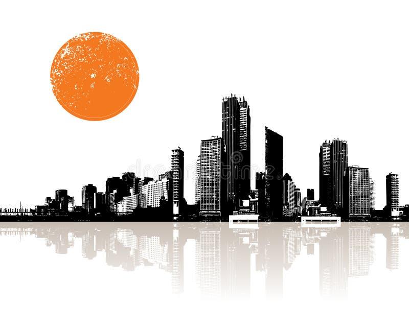 Panorama der Stadt mit Sonne. stock abbildung