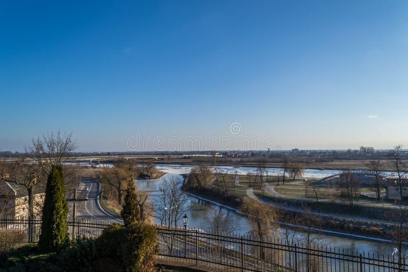 Panorama der Stadt von Sandomierz, Polen lizenzfreie stockbilder
