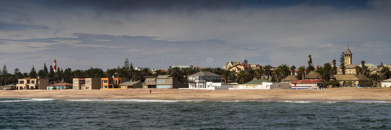 Panorama der Swakopmund-Küstenlinie lizenzfreies stockbild