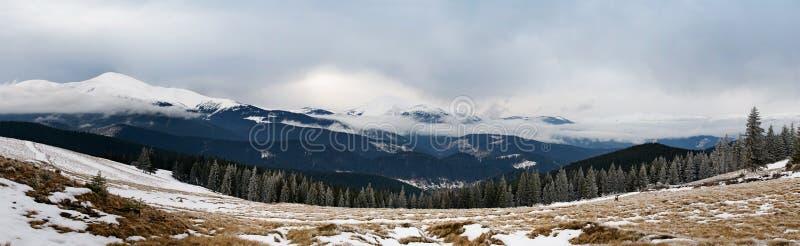 Panorama der Winterberge stockfotografie