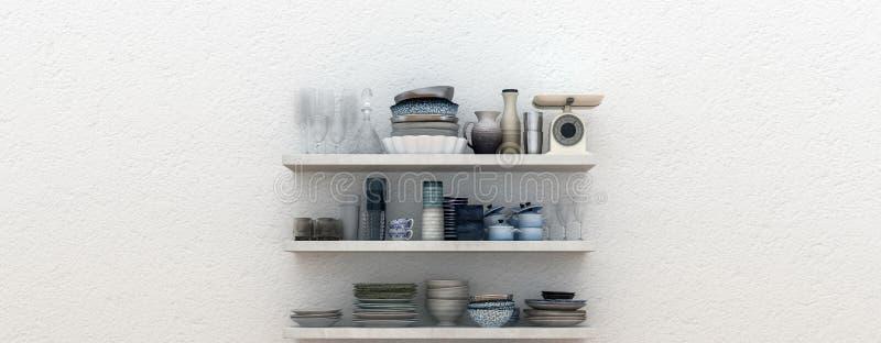 Panorama des étagères ouvertes avec la céramique illustration de vecteur