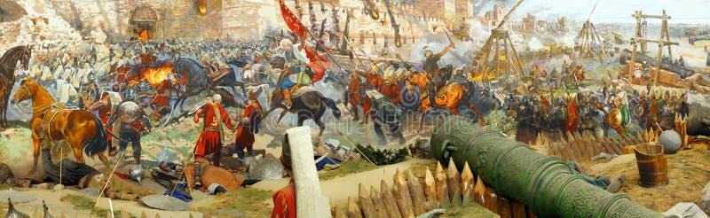 Panorama des abschließenden Angriffs und der Fall von Konstantinopele lizenzfreie abbildung