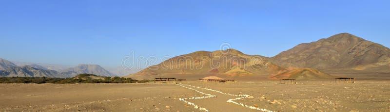 Panorama des Chauchilla Kirchhofs Nazca Peru stockfotos