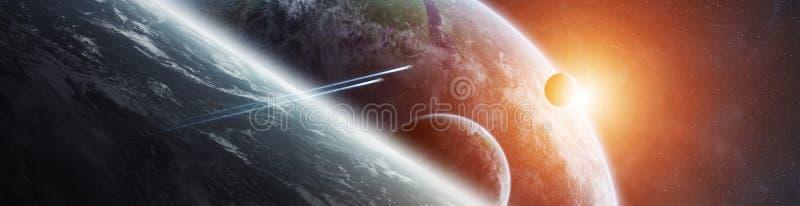 Panorama des entfernten Planetensystems in den Wiedergabeelementen des Raumes 3D stock abbildung