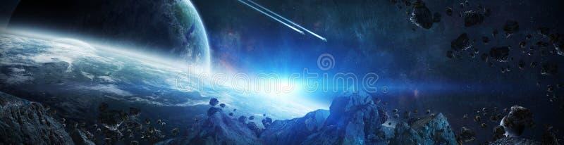 Panorama des entfernten Planetensystems in den Wiedergabeelementen des Raumes 3D lizenzfreie abbildung