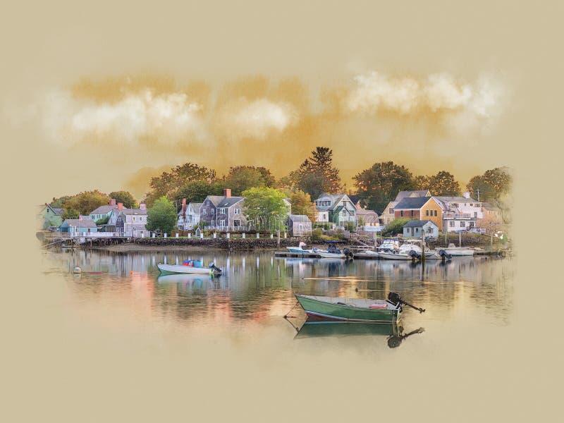 Panorama des frühen Morgens in Portsmouth, New Hampshire vektor abbildung