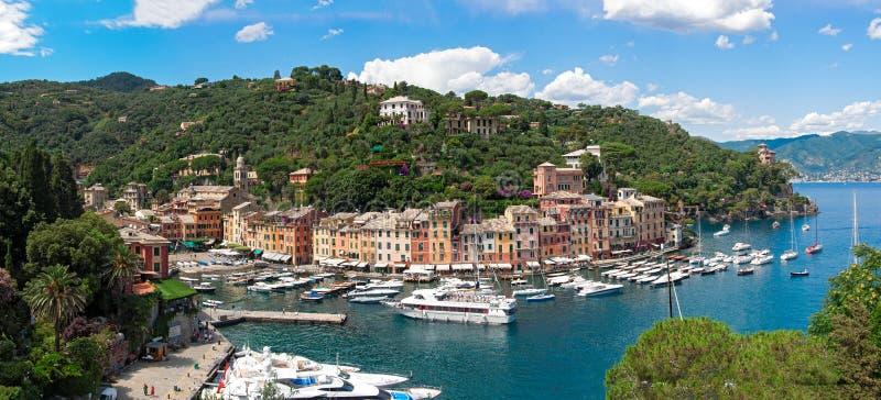Panorama des Golfs von Portofino, Italien stockfotos