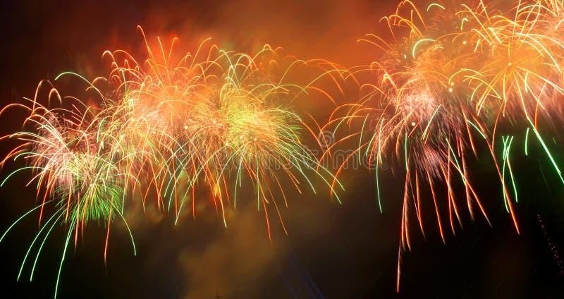 Panorama des Grußes, Feuerwerke. lizenzfreies stockfoto