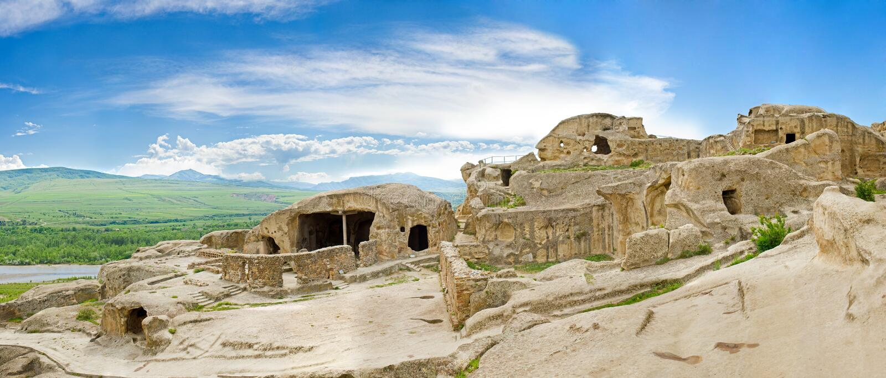 Panorama des Höhlestadtklosters, Vardzia, Georgia lizenzfreies stockfoto