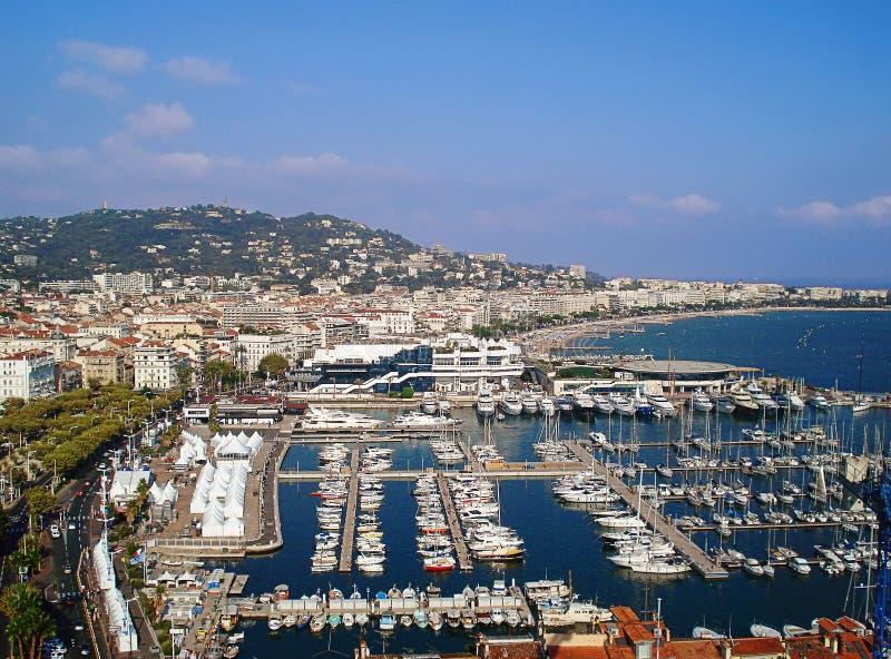 Panorama des Hafens von Cannes stockfotos