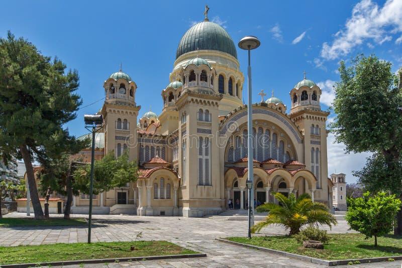 Panorama des Heiligen Andrew Church, die größte Kirche in Griechenland, Patras, Peloponnes, Griechenland stockbild