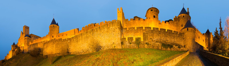 Panorama des mittelalterlichen Schlosses in Carcassonne lizenzfreies stockfoto