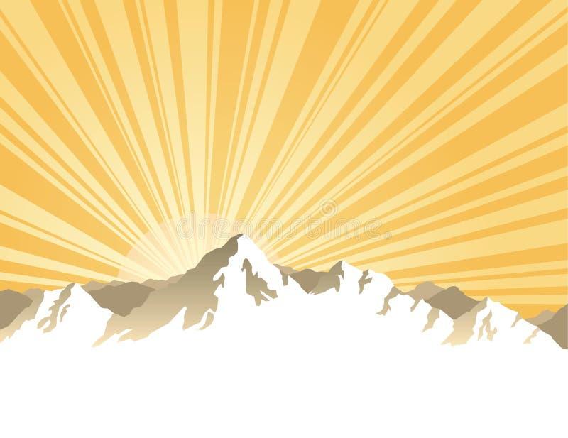Panorama des montagnes avec le rayon de soleil illustration libre de droits