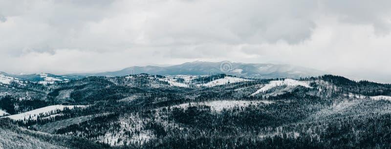 Panorama des montagnes carpathiennes couvertes dans la neige en hiver image stock