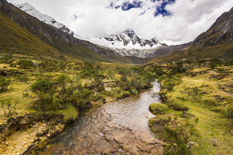 Panorama des montagnes et de la rivière couvertes de neige des Andes images stock