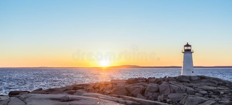 Panorama des Peggys-Bucht-Leuchtturmes bei Sonnenuntergang lizenzfreies stockbild