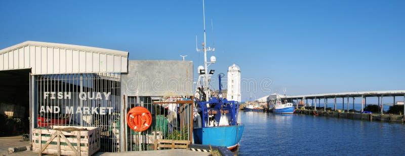 Panorama des poissons du nord Quay de boucliers et du marché photographie stock