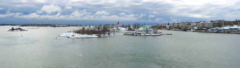 Panorama des Südhafens, März-Morgen Helsinki, Finnland stockfoto
