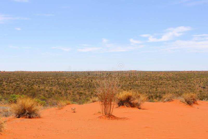 Panorama of the Red Centre desert, Australia. Panorama of the desert in the Red Centre of Australia along the Stuart Highway, Northern Territory Outback stock images