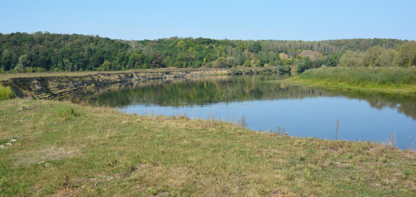 Panorama of Desna river near Mezynsky National Nature Park  in northern Ukraine. Photo stock photography