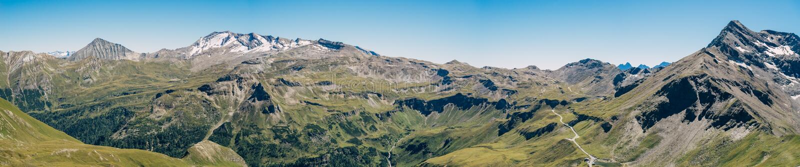 Panorama di alta strada alpina di Grossglockner, Austria fotografie stock libere da diritti