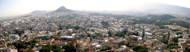 Panorama di Atene fotografie stock libere da diritti